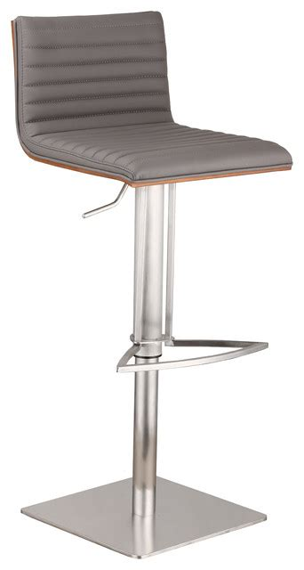 stainless steel bar stools with backs cafe adjustable pu bar stool with walnut back