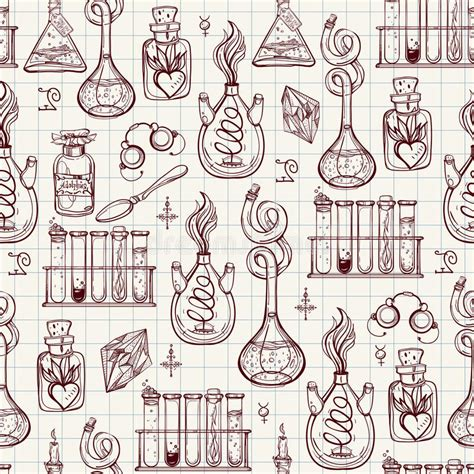 pattern lab download seamless pattern of alchemy vintage lab symbols stock