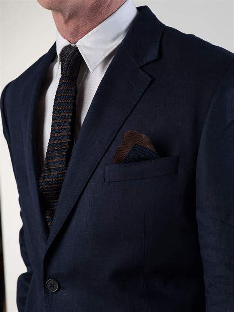 navy blue linen  piece suit peter christian