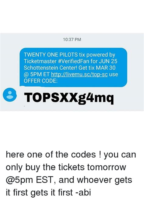 ticketmaster verified fan code 1037 pm twenty one pilots tix powered by ticketmaster