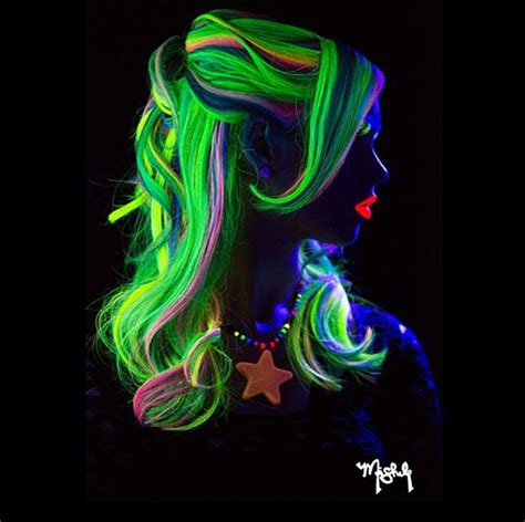 what is the color of a neon light glow in the hair glowing neon hair