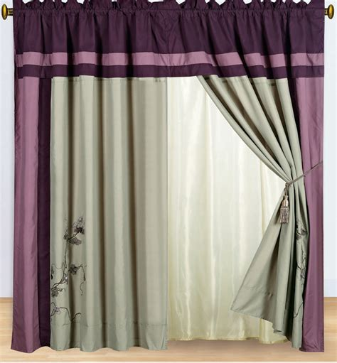 Grey And Purple Curtains Purple And Gray Embroidered Curtain Set W Valance Sheer Tassels Ebay