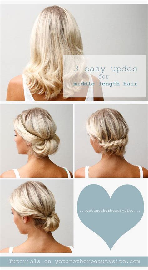 easy updo hairstyle tutorial for 16 pretty and chic updos for medium length hair pretty