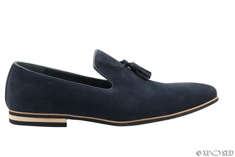 mens faux leather slip on suede loafers driving shoes