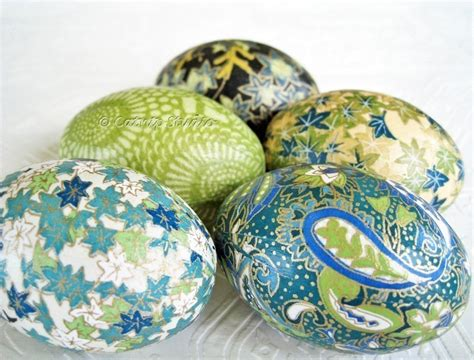 Easter Decoupage - teal origami decoupage easter eggs