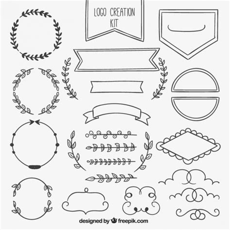 hand draw design elements vector hand drawn ornamental element collection vector free