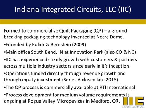 indiana integrated circuits iic quiltpackaging techbriefing february2016