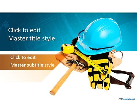 Free Construction Worker Ppt Template Microsoft Powerpoint Templates Safety