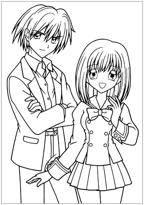 Manga Drawing Boy And Girl In School Suit Manga Anime Anime School Coloring Pages