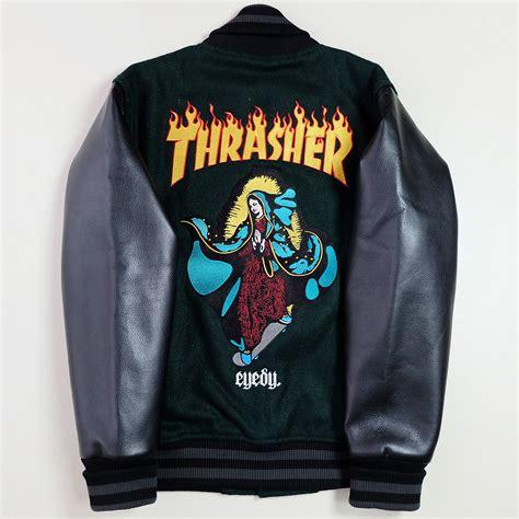 Jaket Bomber Trasher japanese vintage thrasher eyedy green black leather