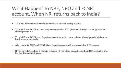 best indian bank for nri account what happens to nre fcnr nro account when nri return back