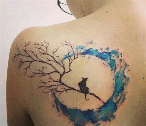 watercolor tattoos on dark skin watercolor moon with black cat inked tattoos