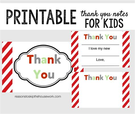 printable thank you note cards printable thank you notes reasons to skip the housework