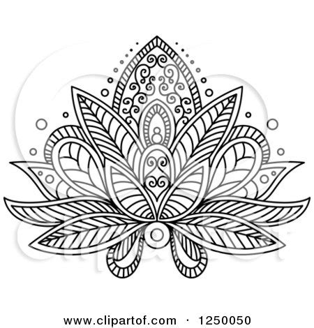 Lotus Flower Doodle Clipart Of A Black And White Henna Lotus Flower 16