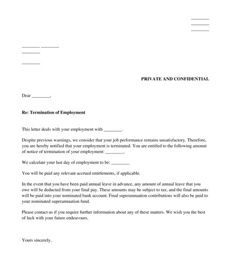 enterprise bargaining agreement template letter to employer about termination gallery