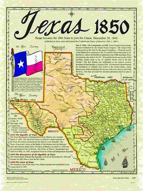 texas history map texas map in 1845