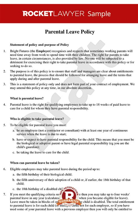 Parental Leave Policy Parental Leave Entitlement Parental Leave Maternity Leave Contract Template