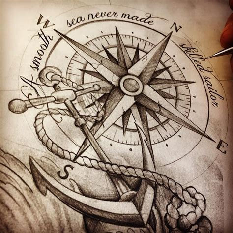 nautical compass tattoo compass anchor tattoosketch cool tatts