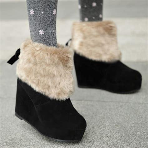 cheap winter fashion toe fur patchwork slip on wedge