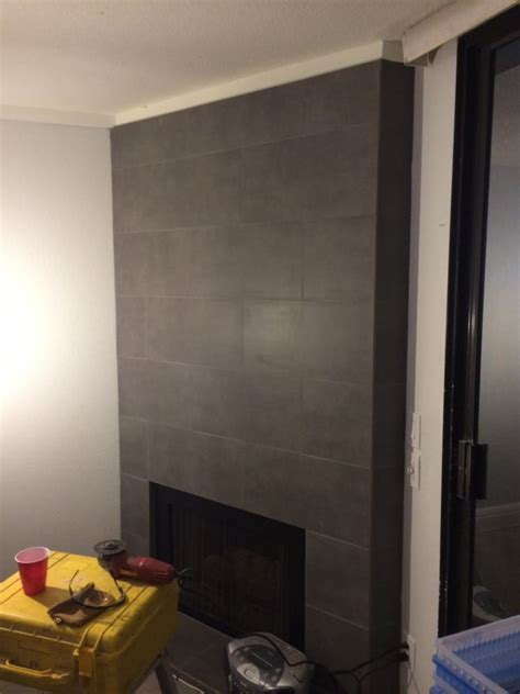 12 quot x 24 quot porcelain tile on fireplace wall and hearth yelp