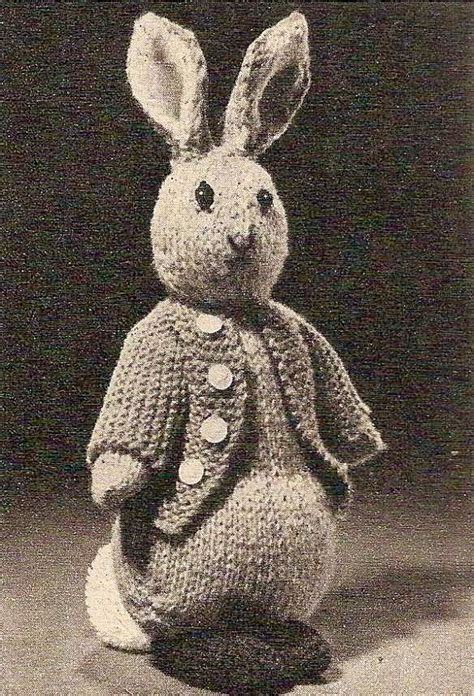 knitting pattern rabbit toy 1955 peter rabbit vintage knitting pattern 455 bunny