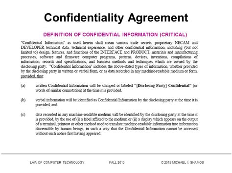 confidentiality agreement confidentiality agreements ppt