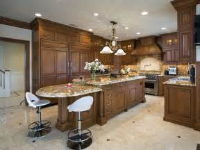 Traditional wood island matching cabinetry throughout this kitchen