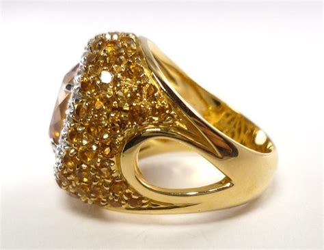 antique cut yellow citrine ring set with yellow