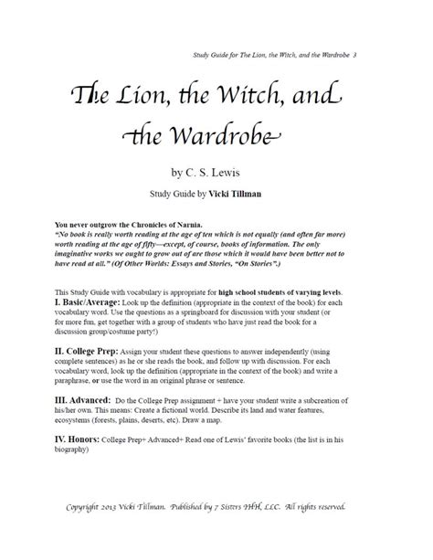 The The Witch And The Wardrobe Summary by Excerpt For The The Witch And The Wardrobe
