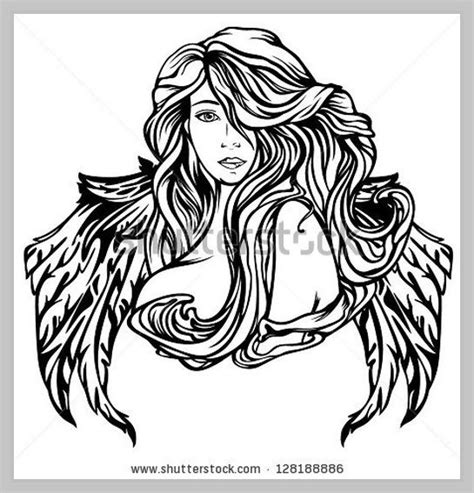 art nouveau style angel vector illustration black and