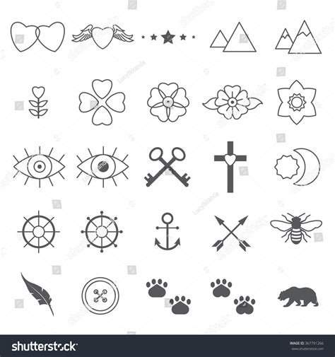 mini tattoo designs tiny designs set 2 stock vector 367791266