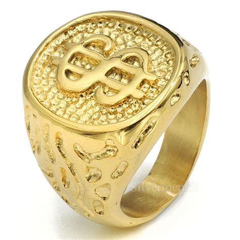 mens boys 18k gold plated money sign band stainless