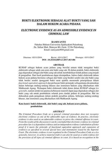 pdf bukti elektronik sebagai alat bukti yang sah dalam