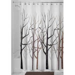 Gray Shower Curtains Fabric Interdesign Forest Fabric Shower Curtain 72 X 72 Black Gray New Ebay