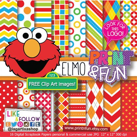 wallpaper elmo pink baby puppets digital paper patterns backgrounds clip