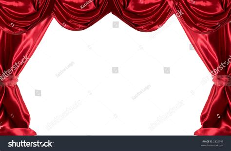 red satin curtains red satin curtains on white background stock photo 2822749