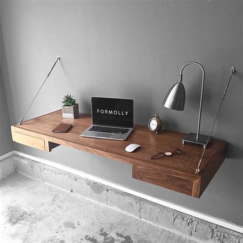 Floating Desk With Storage Walnut Wall Mounted Desk Wall Floating Desk Diy