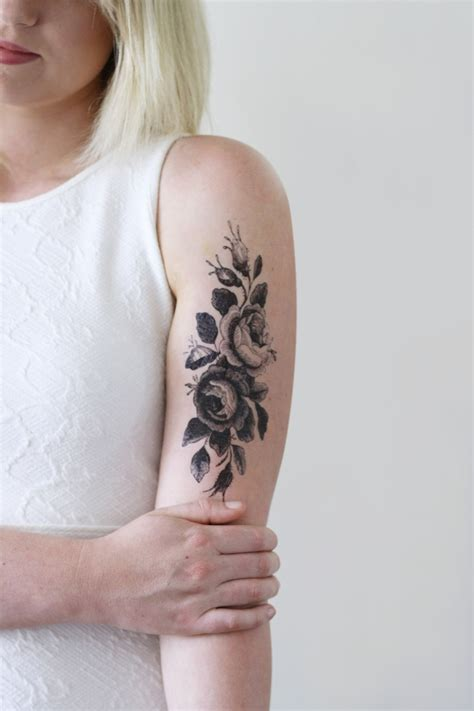 rose temporary tattoo large vintage roses floral temporary temporary