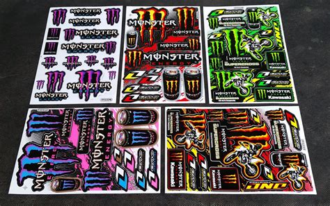 Monster Aufkleber Blau by 60x Monster Energy Drink Aufkleber Sticker Atv