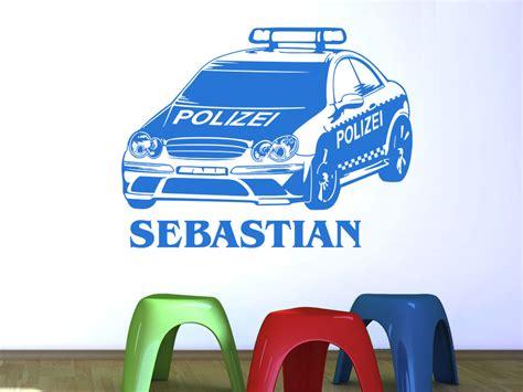Wandtattoo Kinderzimmer Polizei by Wandtattoo Polizeiauto Mit Wunschname Wandtattoo De