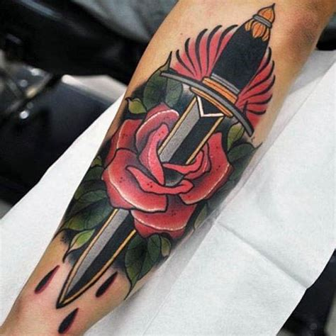dagger and rose tattoo 100 neo traditional designs for refined ink ideas