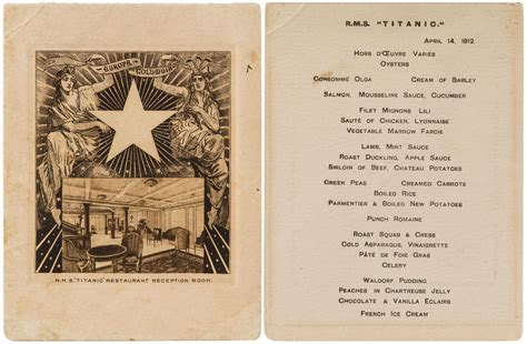 titanic class menu sole surviving titanic class dinner menu brings in