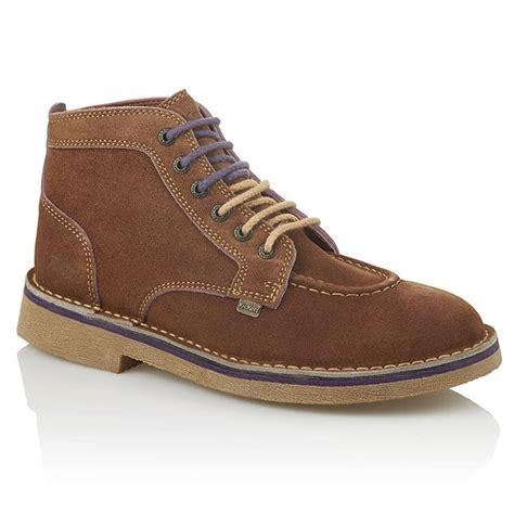 Kickers Soft Brown kickers kick legendry mens light brown purple suede lace up boot from jelly egg uk