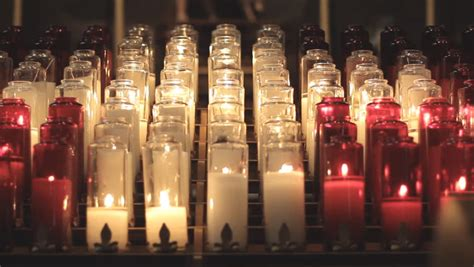stock video  prayer candles   catholic church