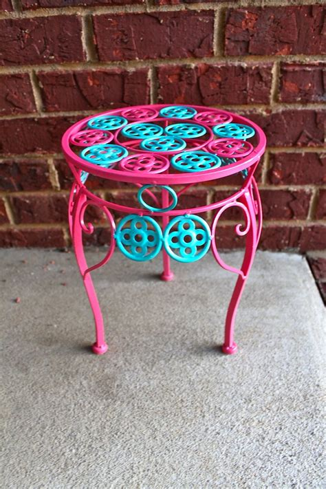 bright colored accent tables pink plant stand turquoise accent patio decor bright