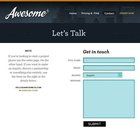 design email form exles of html contact forms in web design designrfix com
