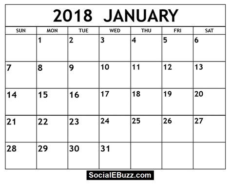 printable calendar january february 2018 january 2018 calendar printable template with holidays pdf