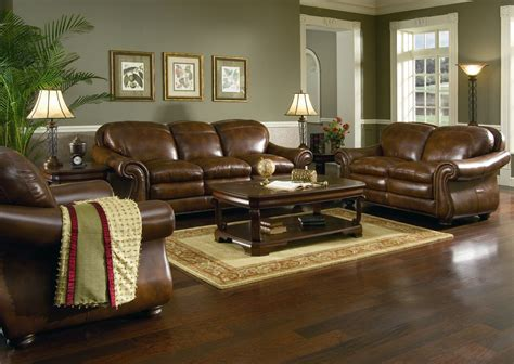 brown leather sofa living room ideas brown leather sofa set for living room with hardwood