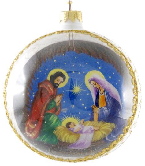 jesus ornaments quot joseph and baby jesus quot painted glass