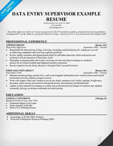data entry resume sle data entry supervisor resume tips for resume